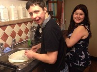 Friends washing up